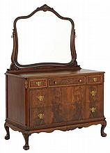 A CHIPPENDALE STYLE CHEST OF DRAWERS WITH MIRROR