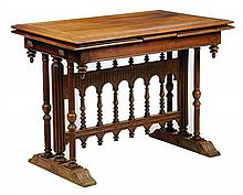 A GOTHIC REVIVAL WALNUT EXTENSION TABLE