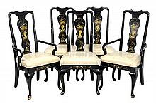 A SET OF FIVE QUEEN ANNE STYLE CHINOISERIE SIDE CHAIRS