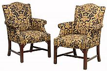 A PAIR OF CHIPPENDALE STYLE UPHOLSTERED ARMCHAIRS