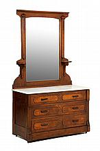 A VICTORIAN STYLE CHEST OF DRAWERS AND MIRROR