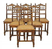 A SET OF SIX FRENCH RENAISSANCE REVIVAL WALNUT SIDE CHAIRS
