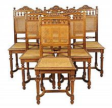 A SET OF SIX FRENCH RENAISSANCE REVIVAL SIDE CHAIRS
