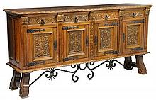A GOTHIC REVIVAL OAK SIDEBOARD