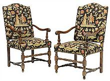 A PAIR OF FRENCH LOUIS XIII STYLE HALL CHAIRS