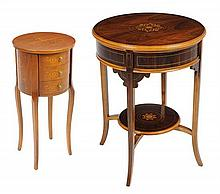 TWO ITALIAN MARQUETRY INLAID OCCASIONAL TABLES