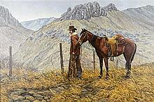 LEE HERRING, (American, born 1940), Landscape with Cowboy and Horse, 1974, Oil on canvas, H 23½ x W 35½ inches.