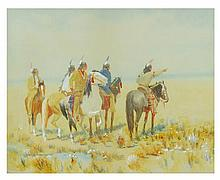 CHARLES CRAIG (attributed), (American 1846-1931), Indians, Mixed media on paper mat, H 15 x W 19 inches.