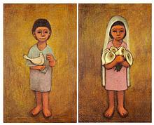 ANTONIO GONZALEZ OROZCO, (Mexican, born 1933), Boy Girl, Oil on canvas (two works), H 27 x W 17 inches.