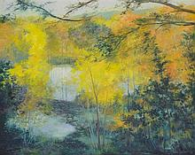 HENRI GADBOIS, (American, Texas, born 1930), Pond by the River Ingram, 1978, Oil on canvas, H 23½ x W 28½ inches.