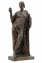 AFTER FERDINAND BARBEDIENNE, (French 1810-1892), Euterpe, The Muse of Music, the Giver of Much Delight, Bronze, H 11¼ x W 5¼ x D 2¾...