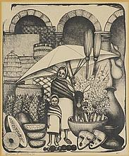 EVELINE JACKSON, (20th century), Marketplace Scene with Mother and Child, 1962, Etching, #1, H 13¼ x W 10½ inches.