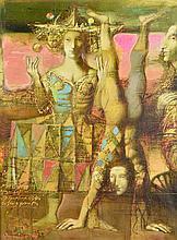 ARMEN GASPARYAN, (Armenian, born 1966), Acrobats, 2007, Oil on canvas, H 32 x W 24 inches.