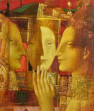 ARMEN GASPARYAN, (Armenian, born 1966), Mirror, 2005, Oil on canvas, H 27½ x W 23¾ inches.