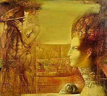 ARMEN GASPARYAN, (Armenian, born 1966), Centaur, 2008, Oil on canvas, H 35½ x W 39½ inches.