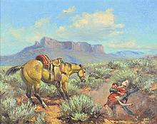 GEORGE PHIPPEN, (American, 1915-1966), A Cowboy Life, 1951, Oil on canvas, 16 x 20 inches