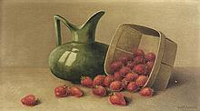 GEORGE McCONNELL, (American, 1852-1929), Still Life, 1908, Oil on wood board, 9¼ x 17¼ inches