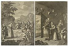 WILLIAM HOGART, (British, 1697-1764), The Curate & Barber Disguising Themselves To Convey D. Quixote Home Vol I, p 71 Book 3rd, Ch.1...