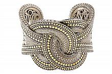 A LADY'S JOHN HARDY 18K GOLD, STERLING SILVER, AND DIAMOND CUFF