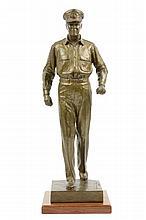 WALDINE AMANDA TAUCH, (American, 1892-1986), Model for General Douglas MacArthur, 1969, Bronze on wood base, H 18½ x W 6½ x D 6½ inc...