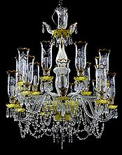 A BACCARAT STYLE EIGHTEEN-LIGHT CRYSTAL AND ENAMELED GLASS CHANDELIER