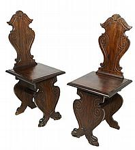 A PAIR OF ITALIAN RENAISSANCE REVIVAL WALNUT SGABELLO CHAIRS