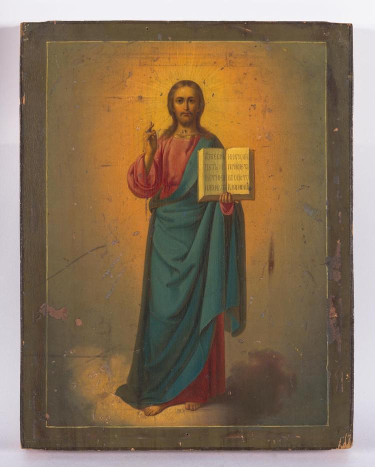 The Saviour Of The Century S End: Christ The Saviour Russian Icon, 19th Century