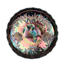 Carnival glass, colbalt 'Kookaburra and Waratah' fruit bowl