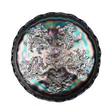 Carnival glass, colbalt 'Waratah and Butterflies' comport