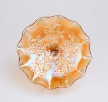 Carnival glass, marigold 'Flannel Flower and Butterflies' comport