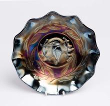 Carnival glass, cobalt 'Kingfisher' bowl