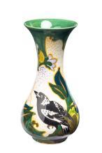 Gouda, Dutch art pottery 'Magpie' vase, early 20th Century