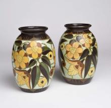 Gouda, A pair of Dutch art pottery 'Regina' vases, early 20th Century
