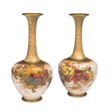 Doulton Burslem Louis Bilton pair of floral vases, late 19thcentury