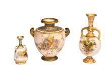 Doulton Burslem Louis Bilton blossom urn and two vases, late 19thCentury