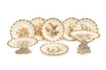 Hill Pottery, Burslem, an 'Australian Wildflower' series porcelain dessert service, circa 1880