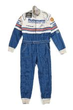 ALAN JONES: A Sparco 'Rothmans Porsche' embroidered racing suit used by Alan Jones in the 1984 World Endurance Championship while racing a 956 Porsche, signed to front and label inscribed 'Jones' together with a pair of 'RPM Racegear' boots, each signed.