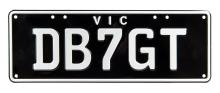 NUMBER PLATES: Victorian custom registration plates - DB7GT, with white lettering.