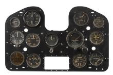 CAC BOOMERANG INSTRUMENT PANEL top line from left: Suction Gauge, Turn & Slip Indicator, Climb & Descent, Fuel middle line from left: Altimeter, Air Speed Indicator, Direction Indicator, Artificial Horizon Indicator, Air Temperature bottom line from left: Manifold Pressure, Tachometer, Temperature/Fuel, Cylinder Temperature 35.5 cm high, 55 cm wide