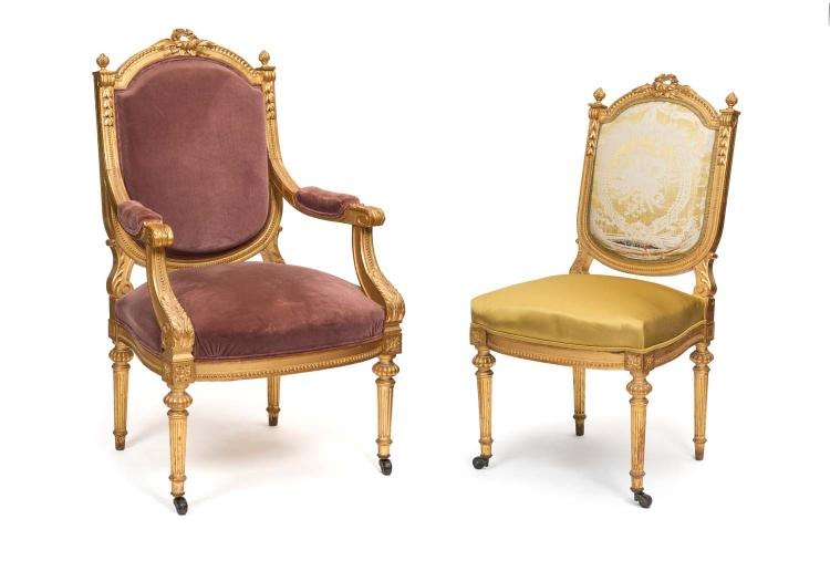 A Louis Xvi Style Carved Gilt Wood Salon Suite 19th Century