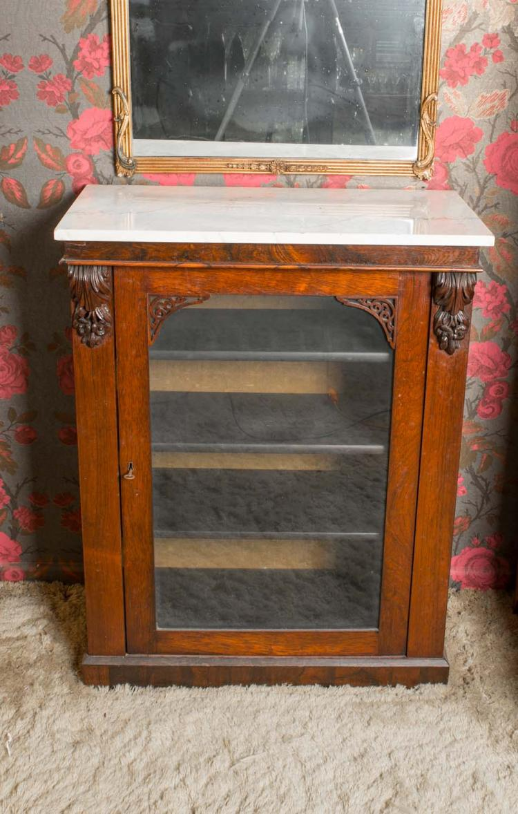 A Victorian Rosewood Marble Top Side Cabinet