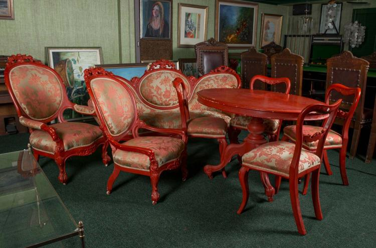 An Associated Suite Of Red Painted Victorian Furniture