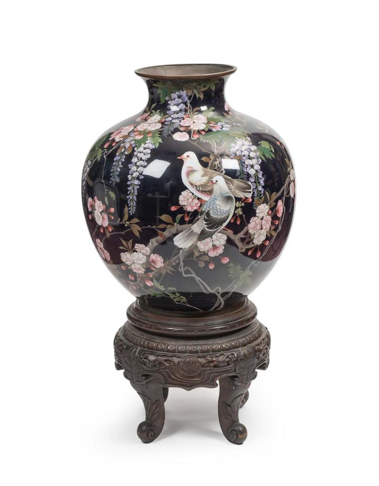 A large japanese cloisonne vase on stand first half of the for Cloison stand