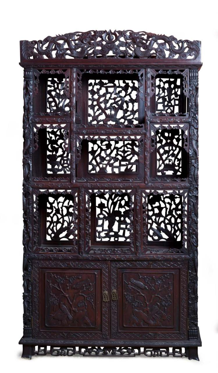 A Chinese Carved Rosewood Dragon And Prunus Decorated Displa