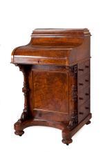 A walnut piano top davenport, English, circa 1865
