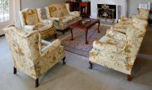 A Sanderson linen upholstered chintz upholstered lounge suite, 20th century