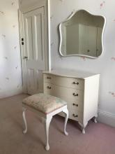 A French provincial style white painted bedroom suite, 20th century
