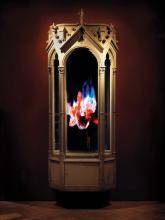 MAT COLLISHAW (BRITISH, BORN 1966) Auto-Immolation (AP), 2010 polyester resin and fibreglass, painted in acrylic, steel, surveillance mirror, LCD screens, hard drive