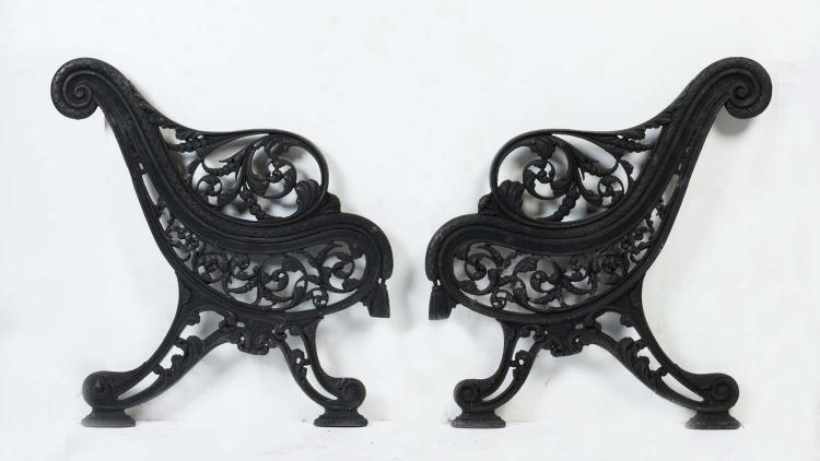 Two Pairs Of Cast Iron Garden Seat Bench Ends Falkirk Found