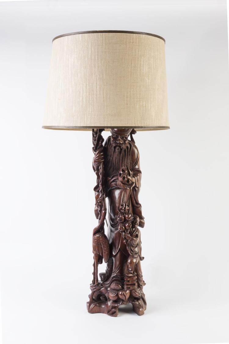 A chinese carved wooden figured lamp base with shade 20th c for Wooden floor lamp bases australia